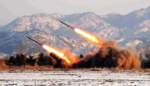 North Korea launching rockets